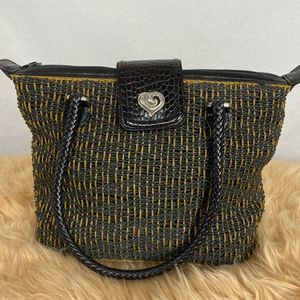 Brighton woven purse with croc leather detail